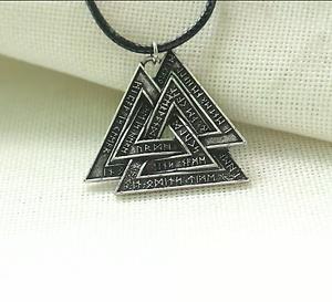 """Viking Valknot /""""Knot  Of The Slain/"""" Rune Pendant Necklace"""