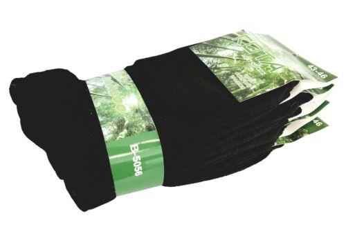 Arbeits-Socken Neu 10-20 Business Socken Bambus Damen Herren Schwarz Freizeit