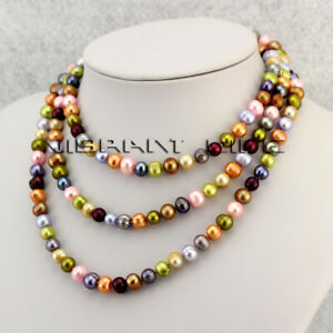 """51"""" 7-9mm Multi Color Freshwater Pearl Necklace Strand M2 U"""