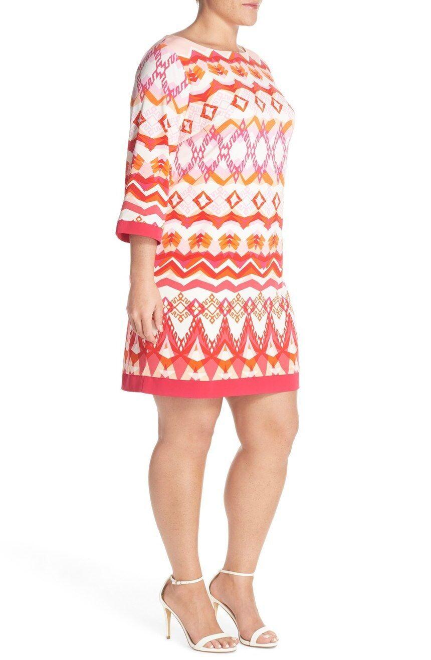 NEW Eliza J Print Jersey Shift Multi Print Dress.SZ 16