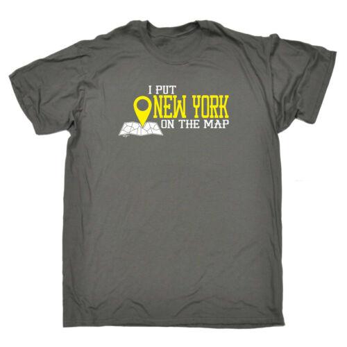 Drôle Nouveauté T-Shirt Homme Tee T-Shirt-New York-Je mettre sur la carte