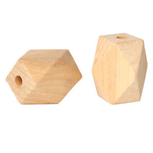 10x-Geometrische-Holzperlen-natur-20mm-Holz-Schmuck-Basteln-Perlen-Holz-DIY