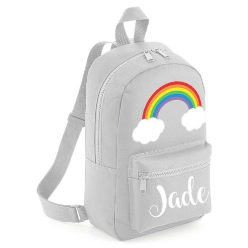 Personalised Kids Backpack Rainbow Any Name Unisex Back To School Bag #CPRB
