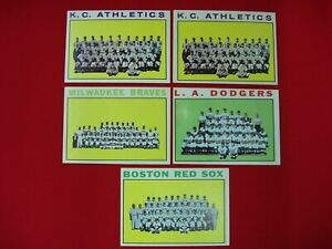 5-1964-TOPPS-TEAM-CARD-LOT-2-HIGH-DODGERS-531-amp-RED-SOX-579-BOOKS-65