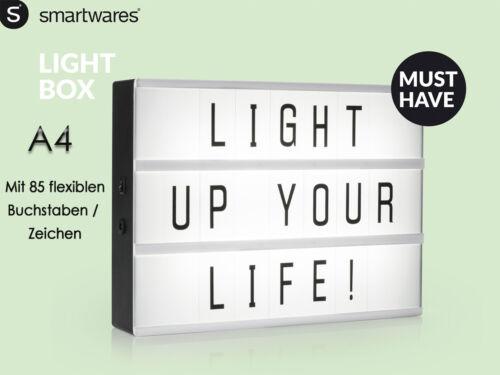 Geburstag Lichtschild A4 mit 85 Buchstaben und Symbolen für Party Hochzeit