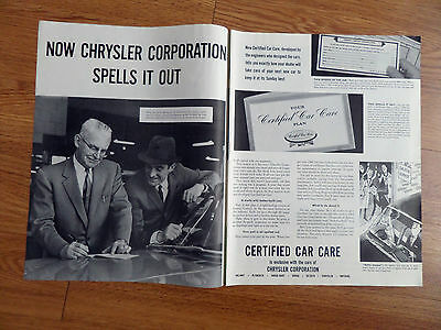 1960 Chrysler Ad Certified Car Care Plan Spells it Out | eBay