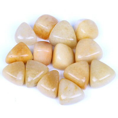 1/2 lb Bulk Natural Yellow Jade Tumbled Stones Healing Reiki With One Pouch