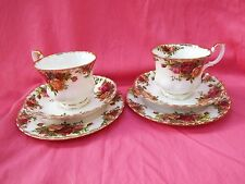 ROYAL ALBERT Bone China Pair of Trios - Cups Saucers Plates  OLD COUNTRY ROSES
