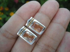 Sterling Silver - Gold Accent Roped Natural CHAMPAGNE CITRINE Post Earrings