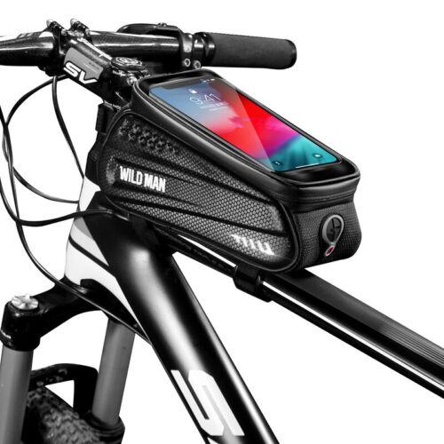 WILDMAN Waterproof Mountain Bike Frame Front Bag Bicycle Mobile Phone Holder Bag