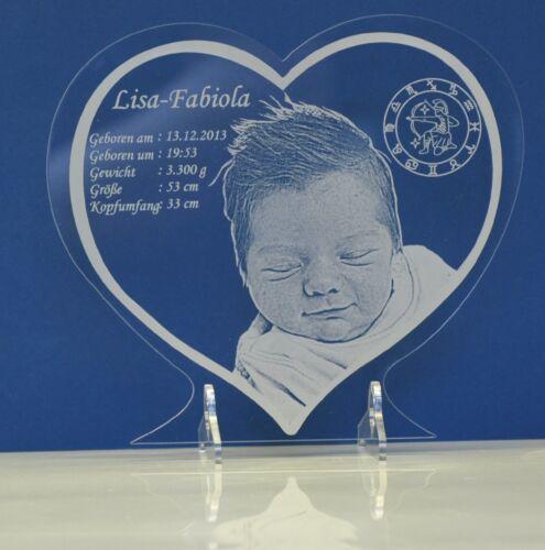 Acrylbild Geburtsdaten Herzplatte mit Fotogravur Taufe Geburt Geschenk