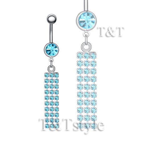 TT Crystal Long Dazzling Dangle Belly Bar Ring Body Piecing BL109