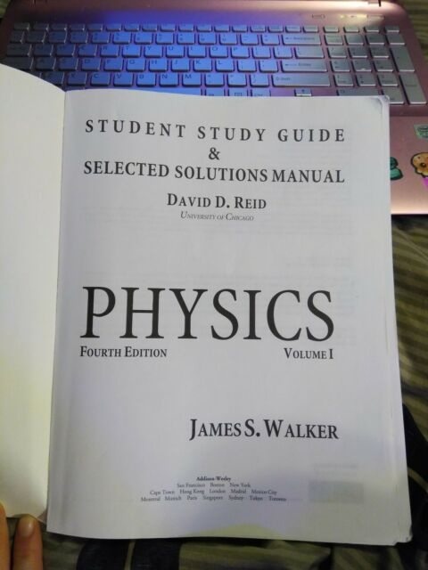 Study Guide And Selected Solutions Manual For Physics Volume 1 Vol 1 By David Reid And James S Walker 2009 Paperback Study Guide Student Manual