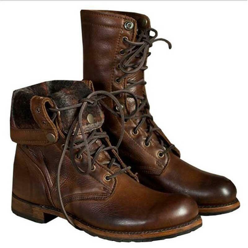 Retro Men Punk Motorcycle Faux Leather Ankle Boots Military Lace up Combat shoes