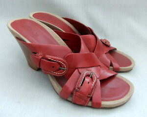 Image is loading NEW-CLARKS-STAR-CORAL-WOMENS-RED-LEATHER-MULES-