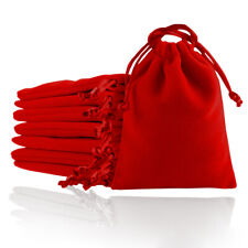 Red Gifts Bag Velvet Cloth Jewelry Pouch Drawstring Wedding Party Favors 5 Size