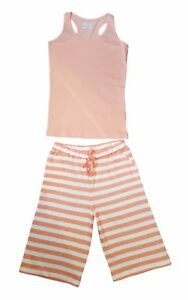 Ladies-pyjamas-or-lounge-wear-Shorts-and-vest-in-light-pink-with-stripes