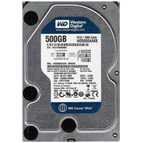 "Western Digital 500GB WD5000AAKB 7200RPM PATA/IDE 3.5"" Desktop HDD Hard Drive"