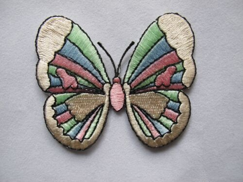 #4046 Pink,Green,Blue Butterfly Embroidery Iron On Applique Patch