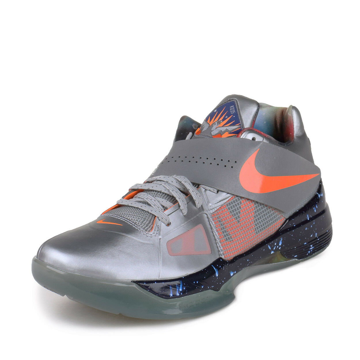 Nike Mens Zoom KD IV AS Metallic Silver Total orange-Dark Grey 520814-001