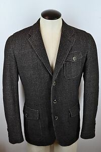 Canali-1934-Silver-Current-Label-Thinsulate-Gray-Blk-Hacking-Jacket-Cashmere-52