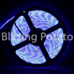 LumenWave-5M-5050-IP65-Waterproof-Flexible-300-LED-Strip-Lights-White-PCB-Blue