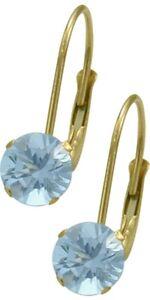 March 14K YG 1.10tcw. 5mm Aquamarine Leverback Gem Earrings