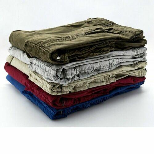 Men Cargo Shorts Pants Trousers Loose Casual Combat Cotton Pockets Khaki Vintage