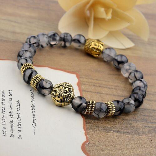 Vente chaude pierre naturelle Lion Bouddha Perles Charme Femmes Handmade Hommes Bracelets