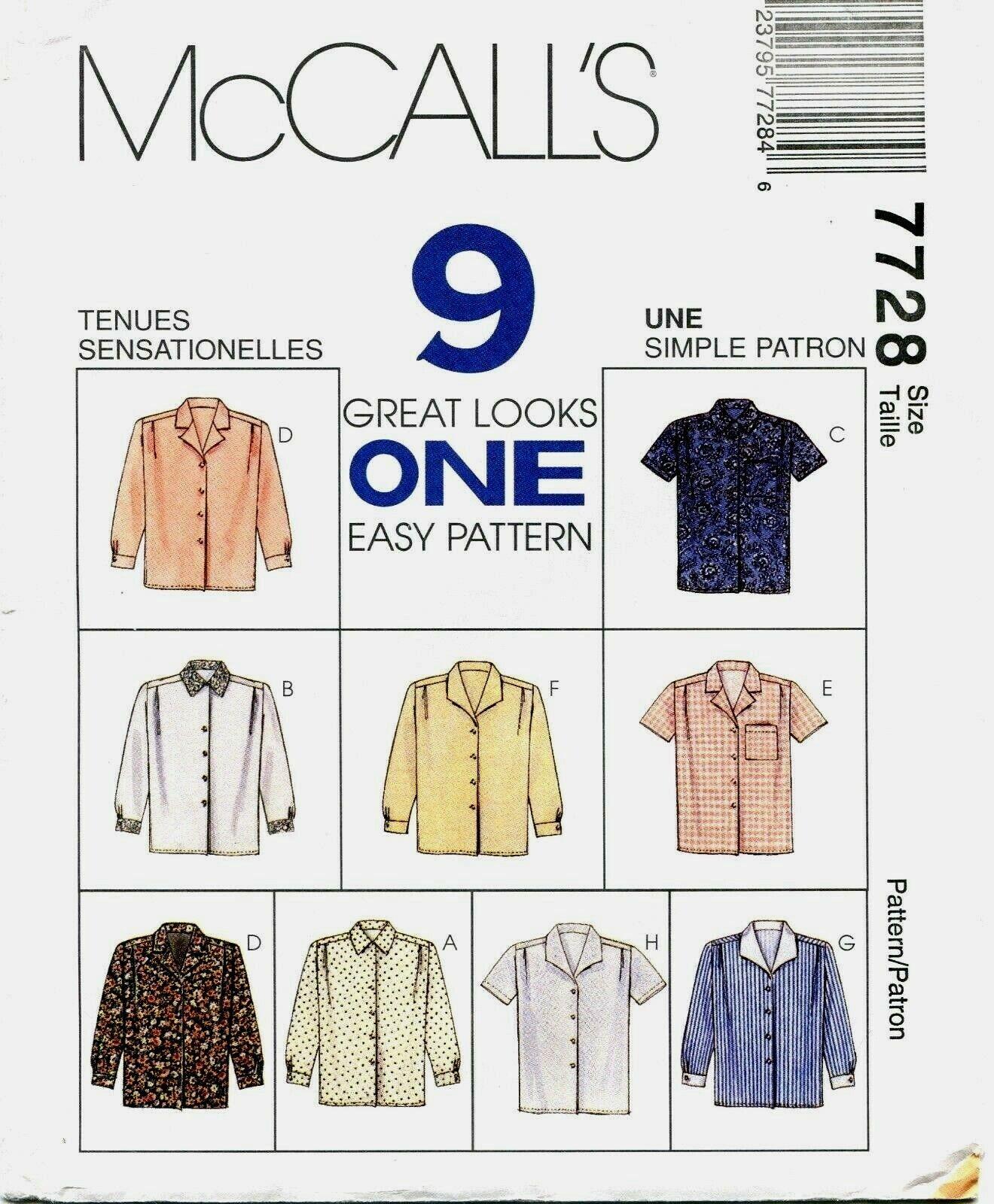 McCalls-7728-M FP McCalls Sewing Pattern 7728 Free UK P/&P