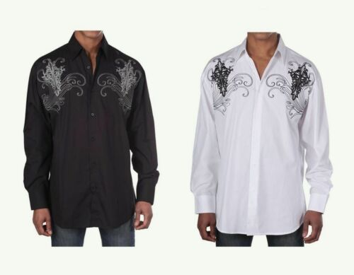 Men/'s Western Cotton Embroidered Casual Shirt #42 Black White /& Red