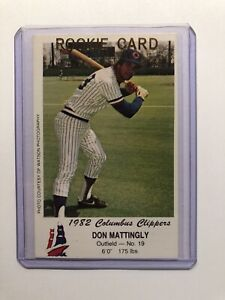 1982 COLUMBUS CLIPPERS Minor league DON MATTINGLY in card