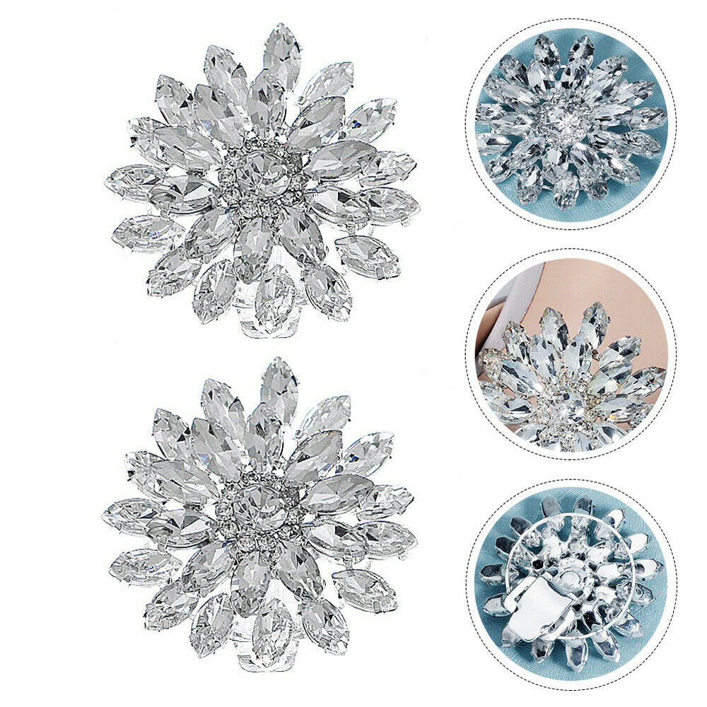 1 Pair Clips Fashion Decorative Rhinestone Dress Shoes Buckles for Party Wedding