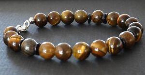 Spiritual-Beads-Men-039-s-Bracelet-8mm-Tigers-Eye-Bronzite-925-Sterling-Silver-Clasp