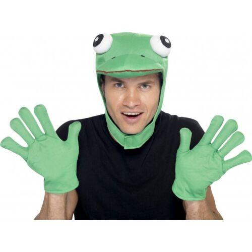 Green Frog Hood Gloves Kit Carnival Comedy Fancy Dress Animal