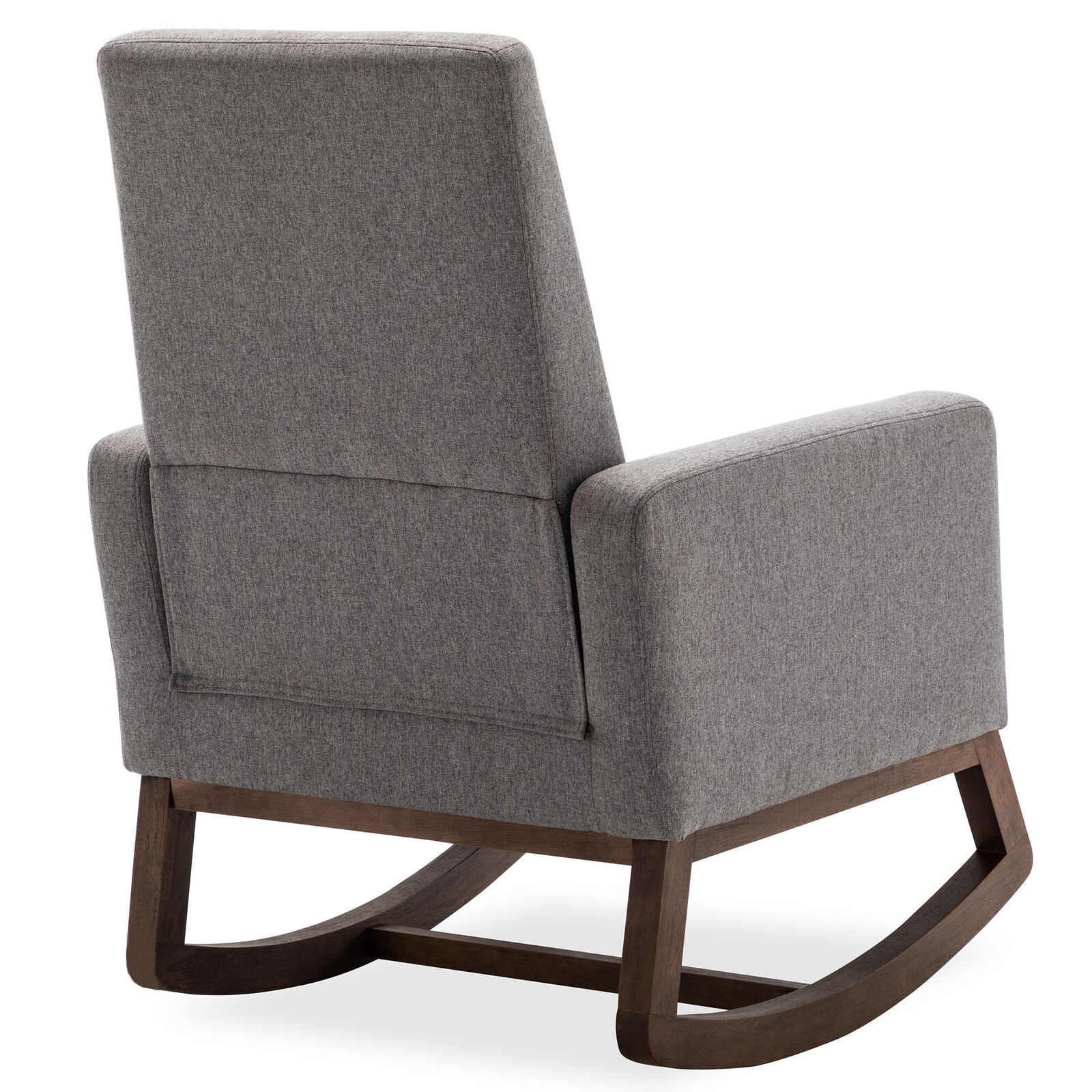 Gray Living Room Rocking Chair Upholstered Fabric High Back Armchair Padded Seat