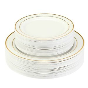 Premium Plastic Disposable Plates Gold Silver White Wedding  sc 1 st  Wedding Ideas & Disposable Wedding Plates In Bulk | Wedding Ideas