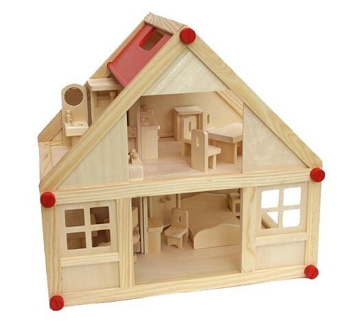 Frossoa casa delle bambole + möbelset 28 Pezzi + Famiglia di cambio vestiti SET COMPLETO LEGNO