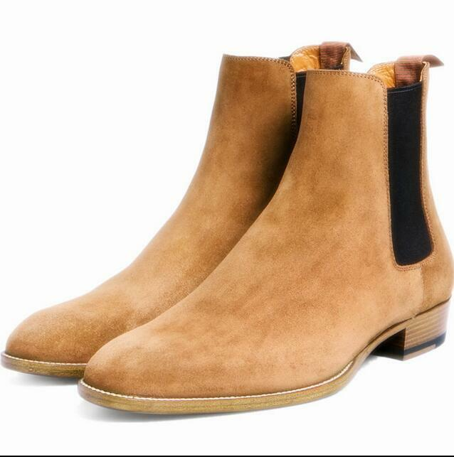 Uomo British Style Pull On Ankle Boots Shoes Desert Chelsea Boots Suede Outdoor