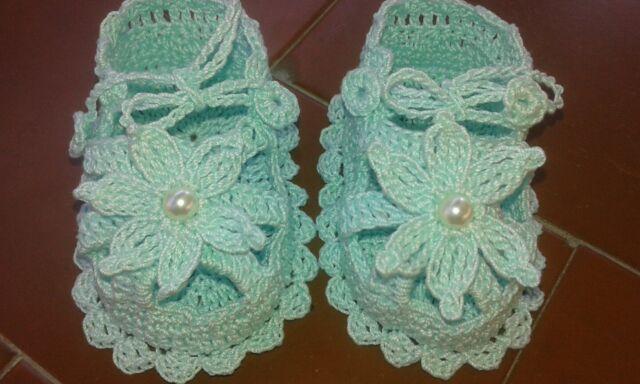 SANDALI Scarpine neonata all'uncinetto sandalini cotone verde acqua 8,5 cm