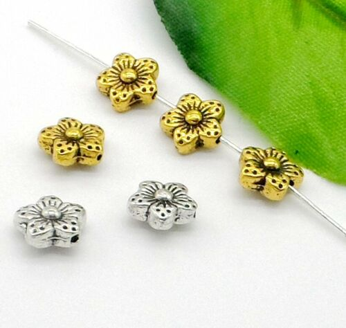 50PCS Tibetan Silver Glod Flower Spacer Beads For Jewelry Making 8.5x4mm