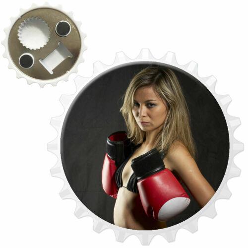 Woman In Bikini /& Boxing Gloves Bottle Opener Fridge Magnet