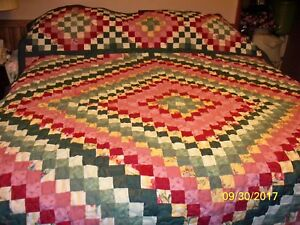 Details About Trip Around World Quilt Maroon Green Full Size Measures 80x95 Inches