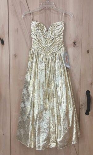 Vintage 80's Gunne Sax Jessica McClintock Gold Str
