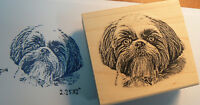 P14 Shitzu Dog Rubber Stamp Wm 2.3x2