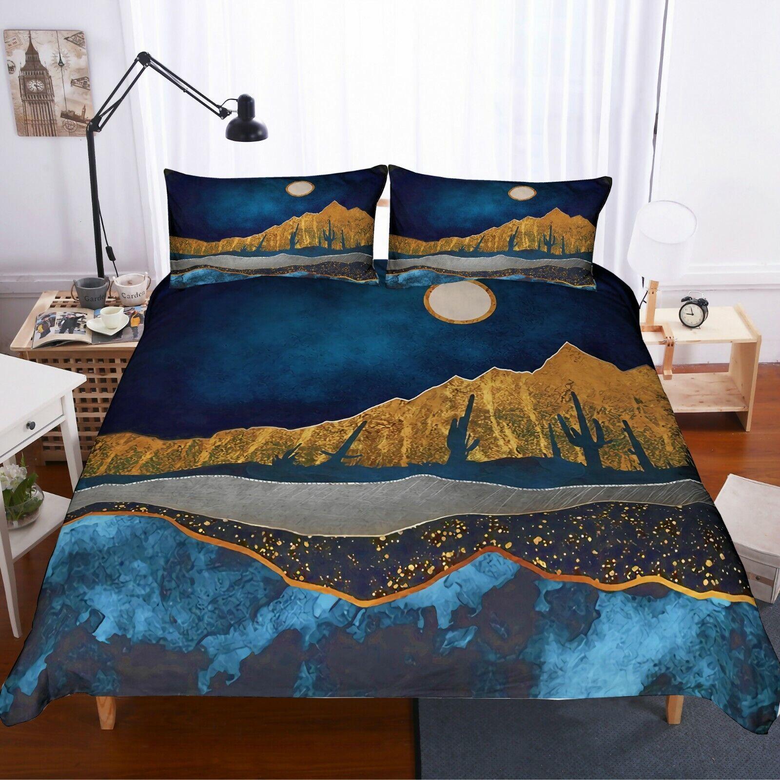 3D Abstract Gilding Mountains Quilt Startseite Set Bettding Duvet Startseite Pillow 18