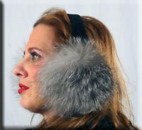 Indigo Fox Fur Ear Muffs Velvet Band - Efurs4less