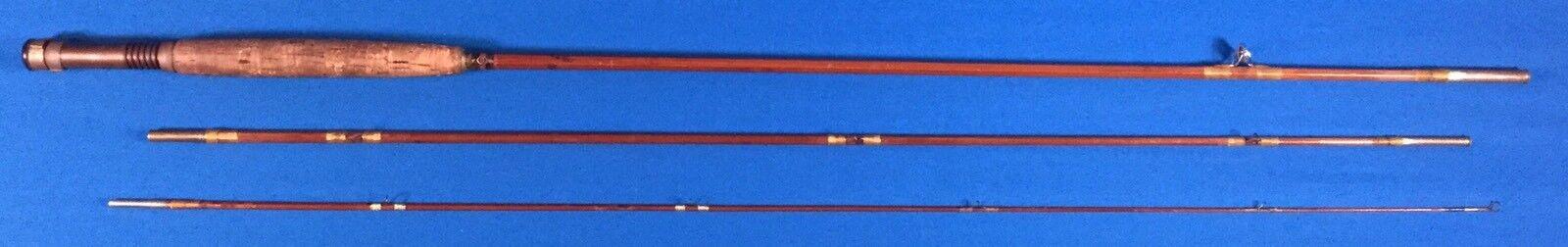 Vtg Heddon Bamboo Fly Rod 9 Foot 3 Piece Fishing Pole Cork
