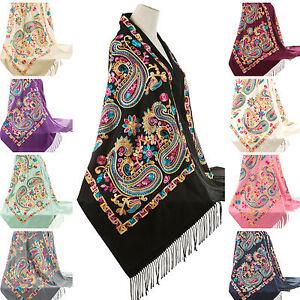 ... Designer-Brode-Fleur-Paisley-Chale-Echarpe-Pashmina-Chaud- 7c4e4eecbc7