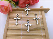 Wholesale 14Pcs Tibet Silver Cross Charm Pendant Beaded Jewelry
